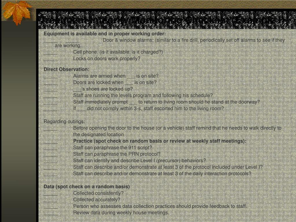 Treatment Integrity/Monitoring Checklist (Example I)