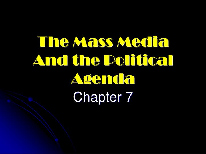 the mass media and the political agenda n.