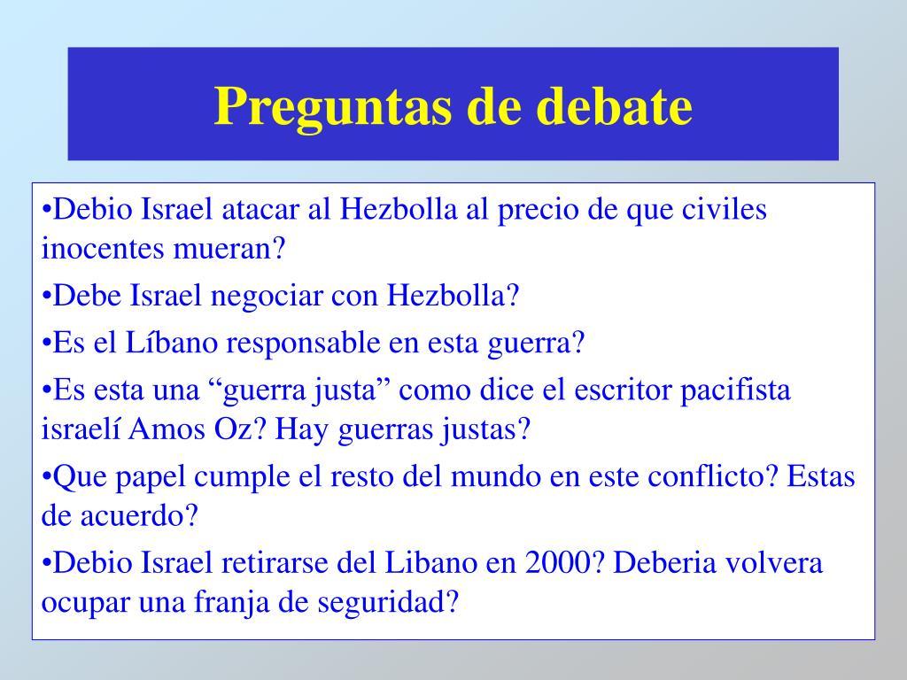 Preguntas de debate