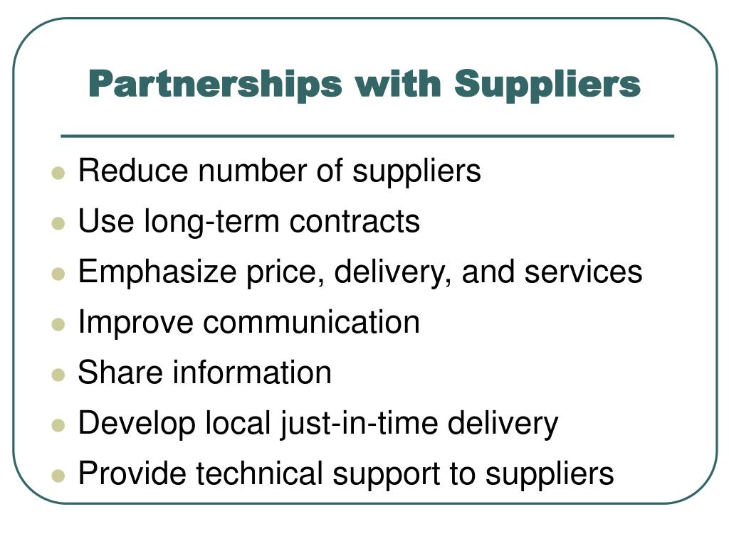 Partnerships with Suppliers