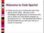 welcome to club sports