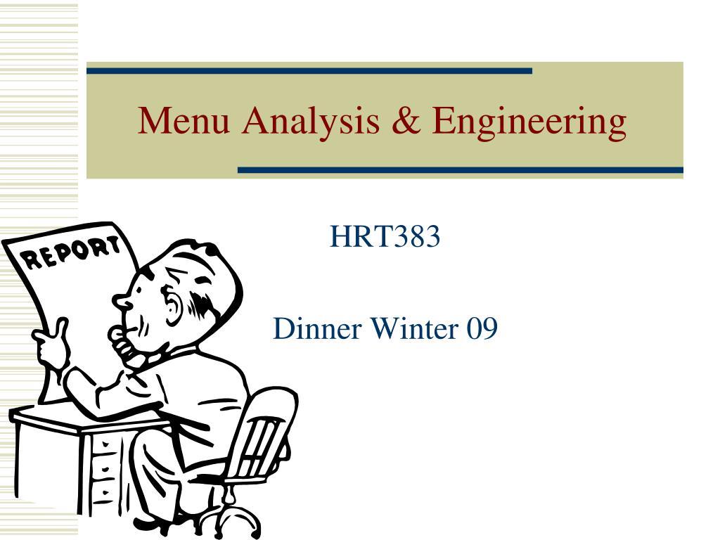menu analysis engineering l.
