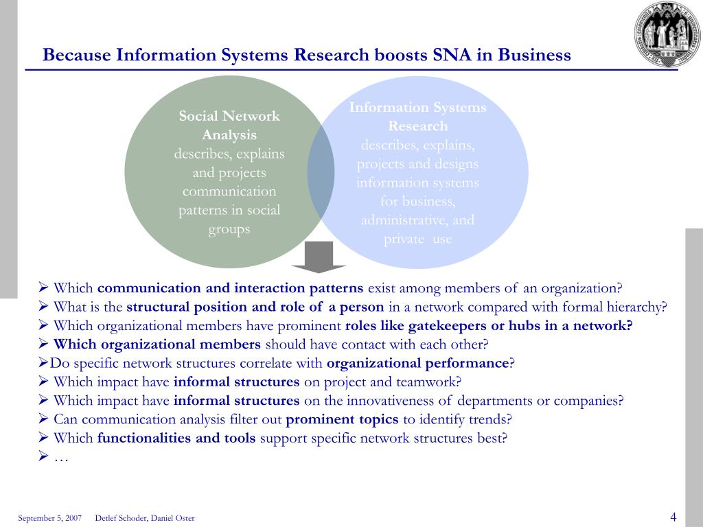 Because Information Systems Research boosts SNA in Business
