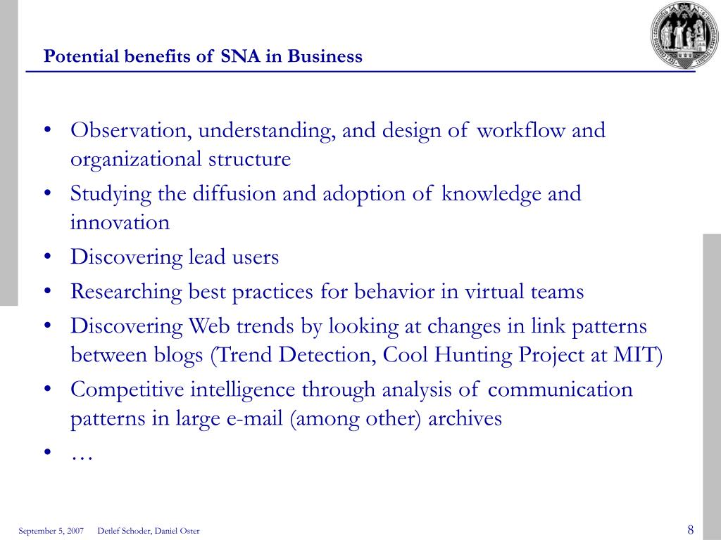 Potential benefits of SNA in Business