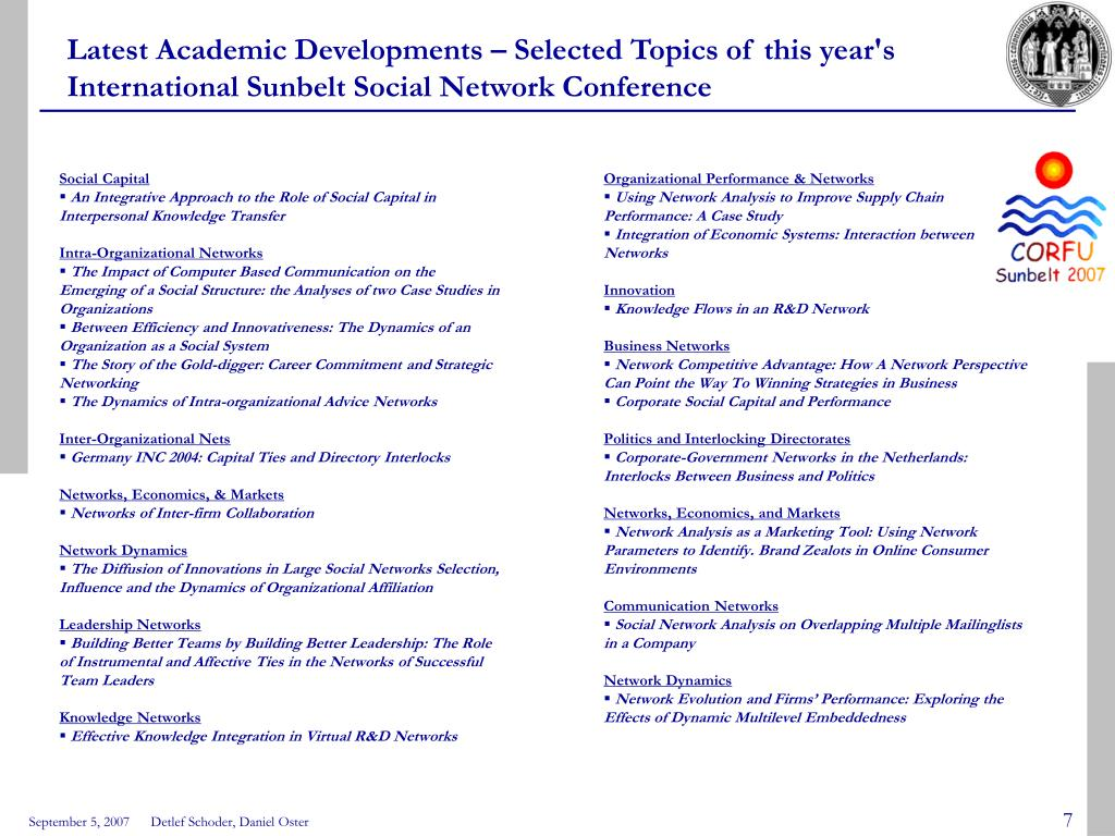 Latest Academic Developments – Selected Topics of this year's International Sunbelt Social Network Conference