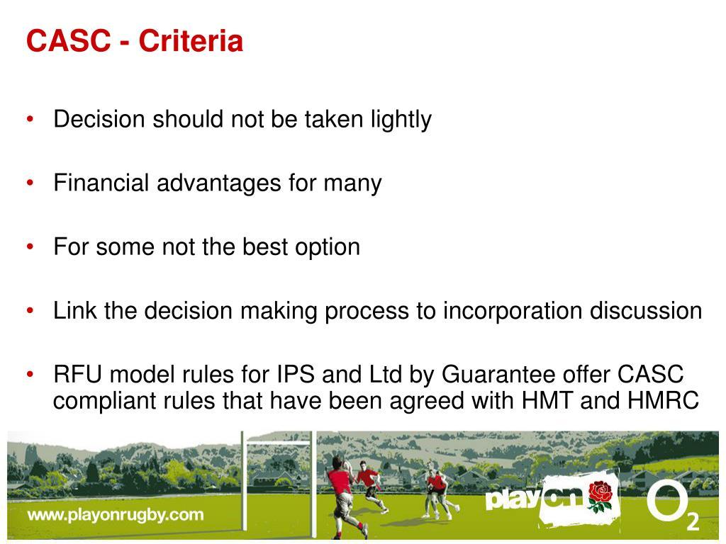 CASC - Criteria