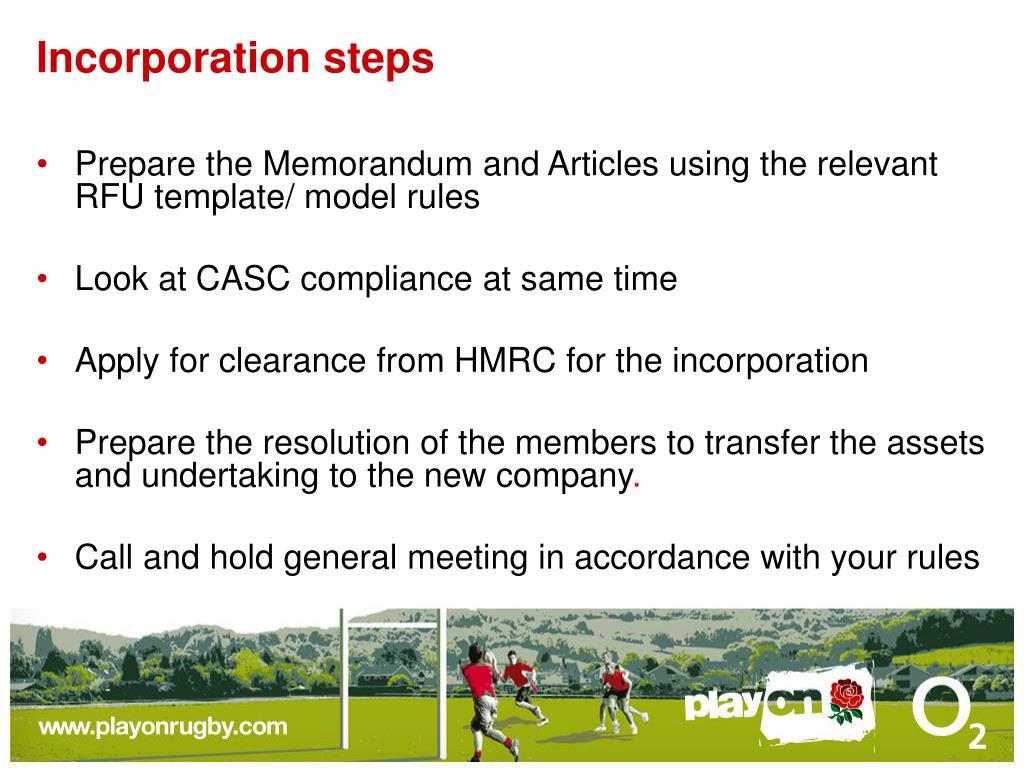 Incorporation steps