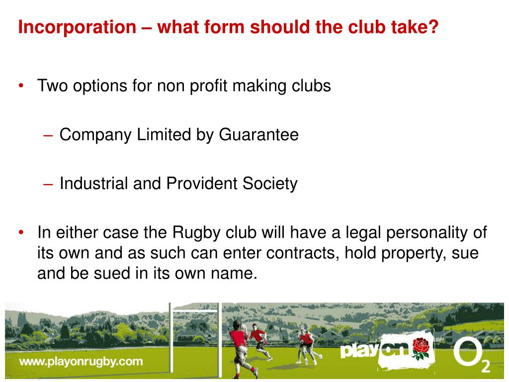 Incorporation – what form should the club take?