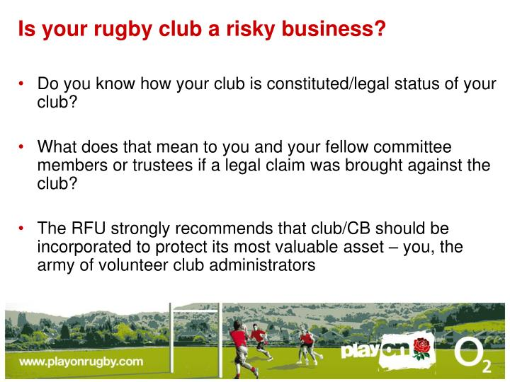 Is your rugby club a risky business