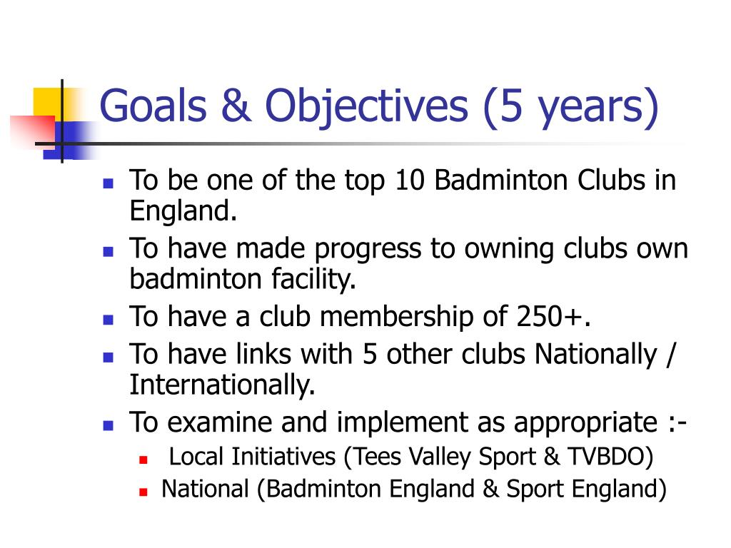 Goals & Objectives (5 years)