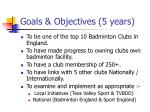 goals objectives 5 years