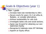 goals objectives year 1