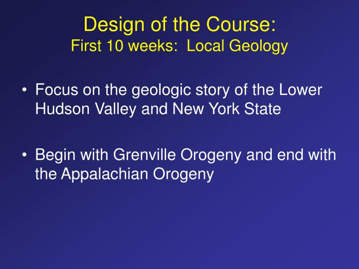 Design of the Course: