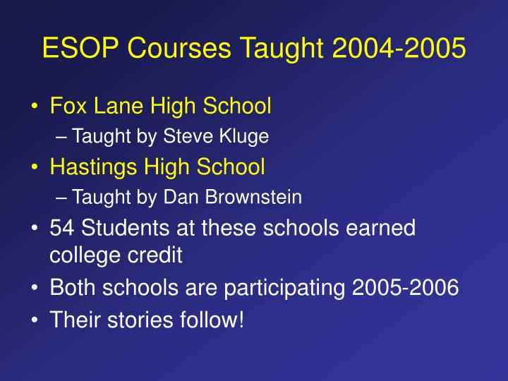 ESOP Courses Taught 2004-2005