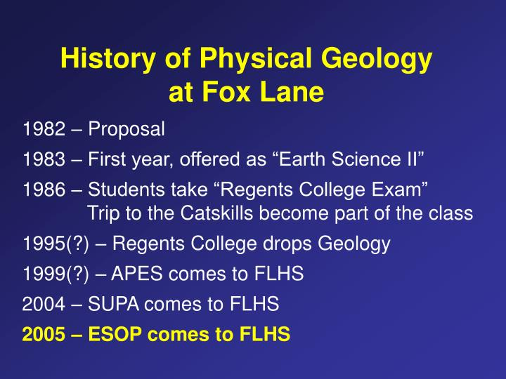 History of Physical Geology