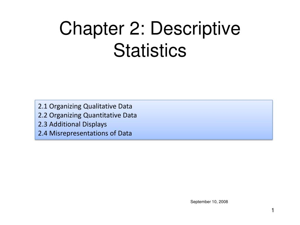 chapter 2 descriptive statistics l.