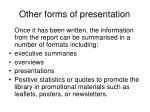 other forms of presentation