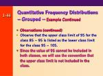 quantitative frequency distributions grouped example continued44