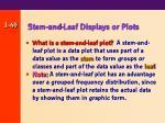 stem and leaf displays or plots