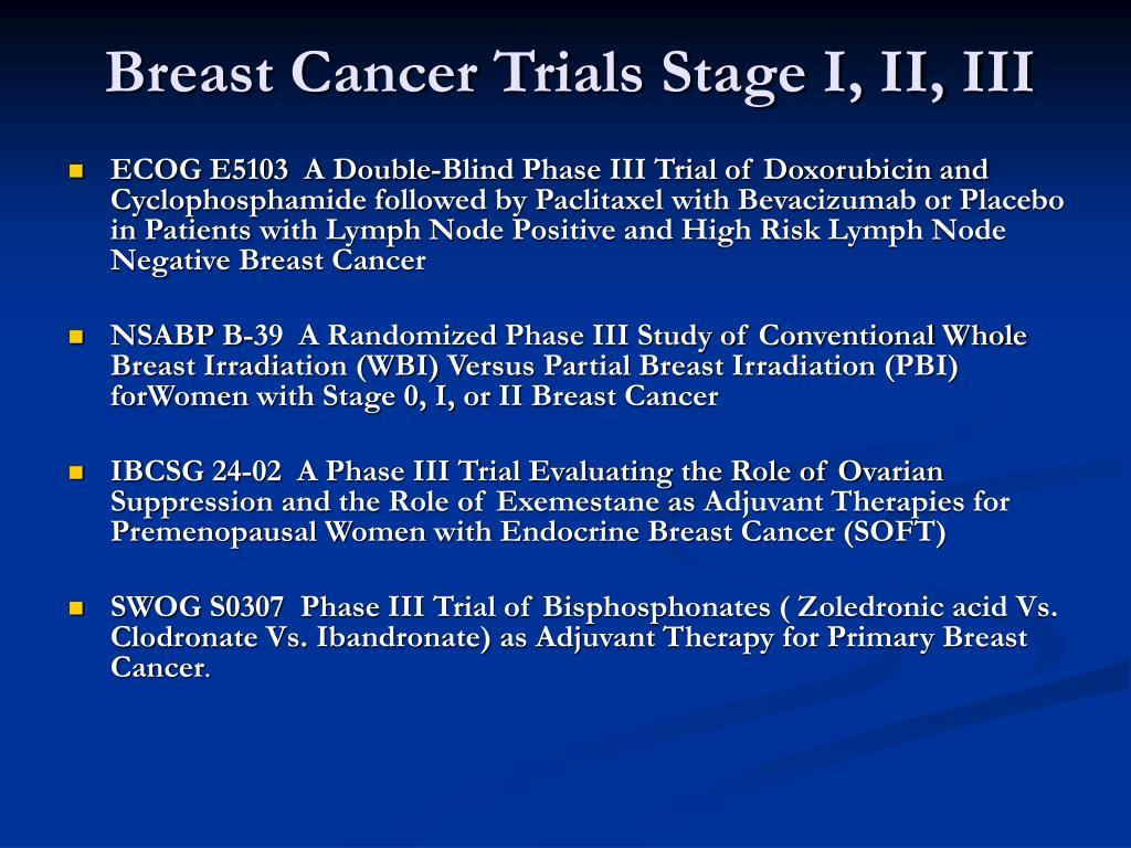 Breast Cancer Trials Stage I, II, III