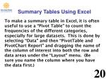 summary tables using excel