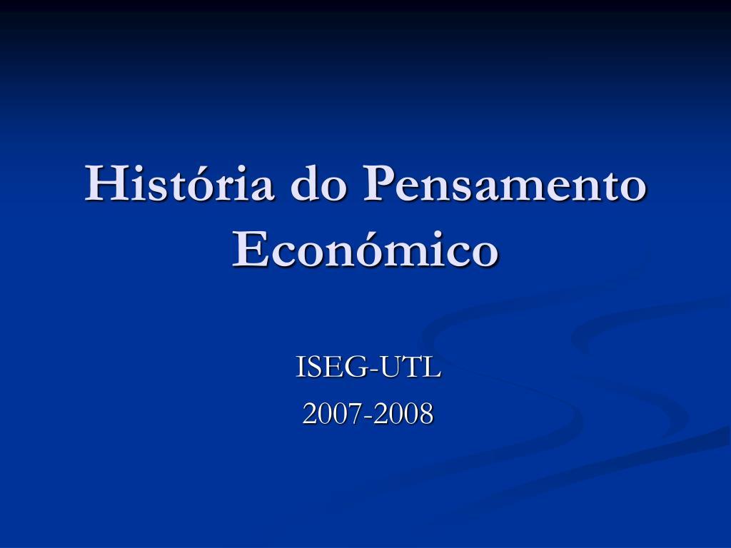 História do Pensamento Económico
