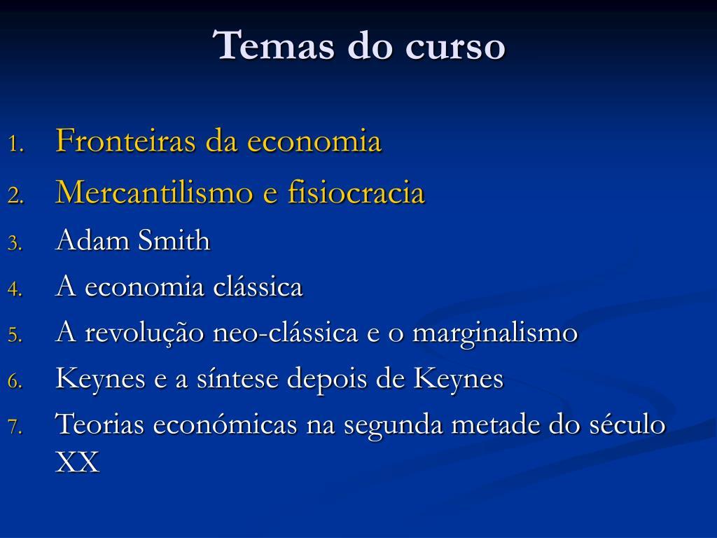 Temas do curso