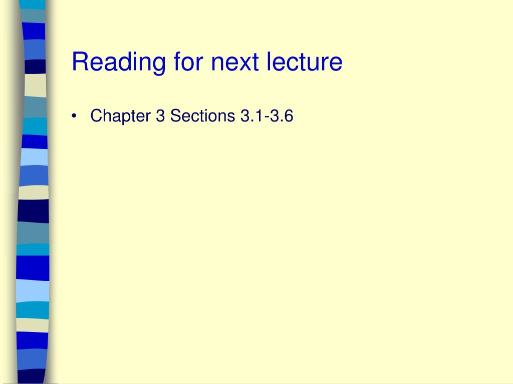 Reading for next lecture