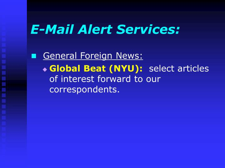 E-Mail Alert Services: