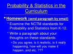 probability statistics in the curriculum