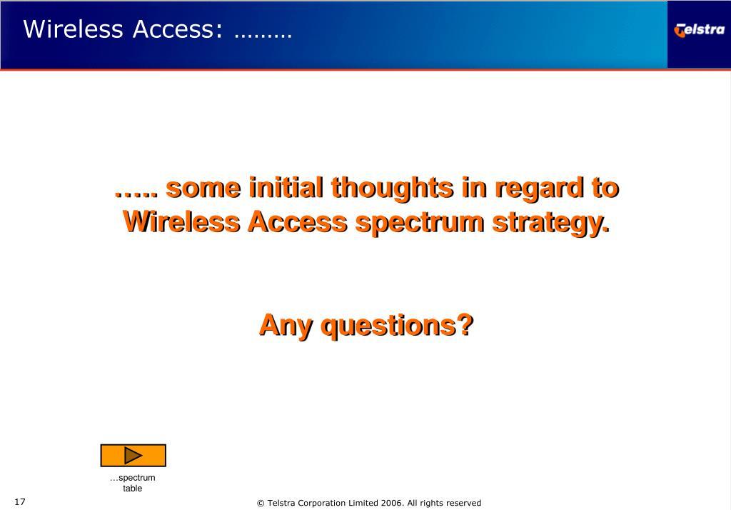 Wireless Access: ………