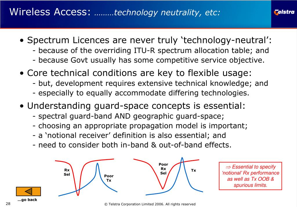 Spectrum Licences are never truly 'technology-neutral':