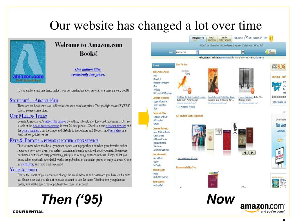 Our website has changed a lot over time