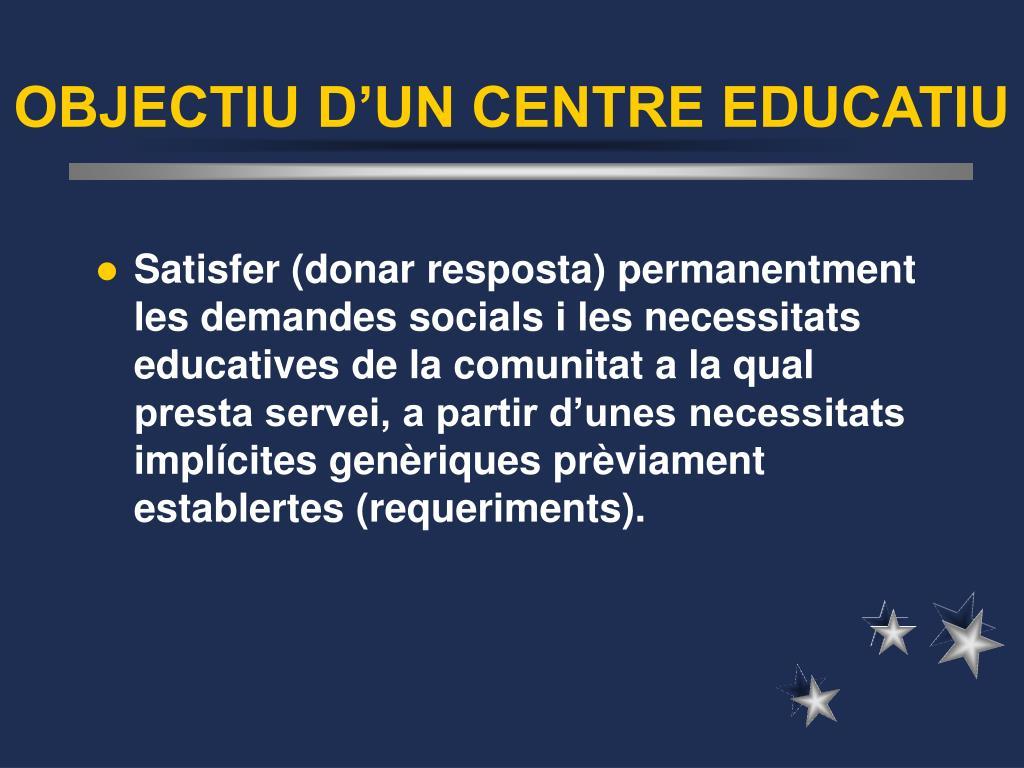 OBJECTIU D'UN CENTRE EDUCATIU