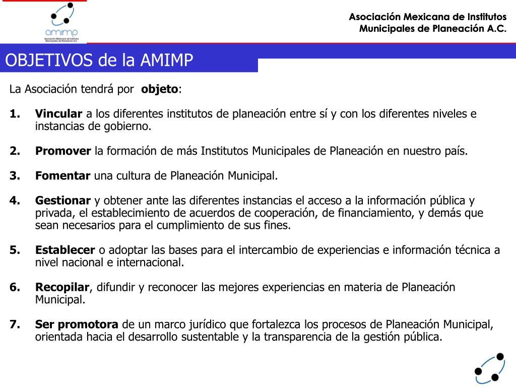 OBJETIVOS de la AMIMP