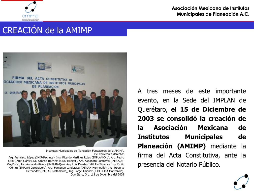 Institutos Municipales de Planeación Fundadores de la AMIMP.