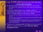 using tcp ip osi protocols over the internet