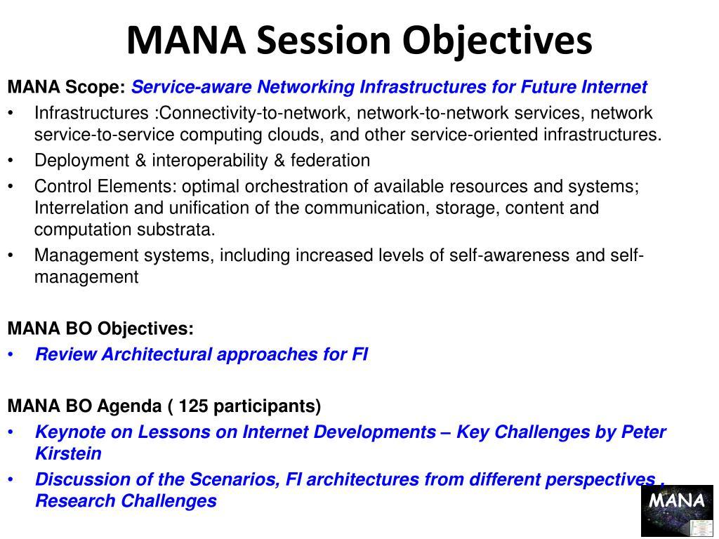 MANA Session Objectives