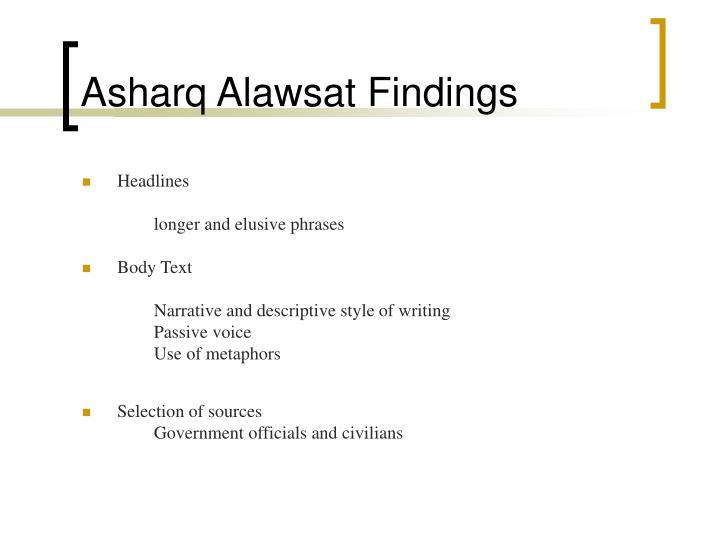 Asharq Alawsat Findings