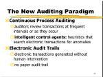 the new auditing paradigm
