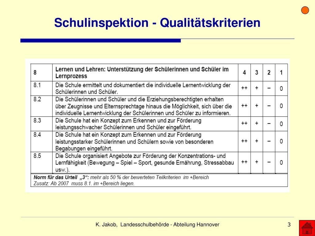 Schulinspektion - Qualitätskriterien