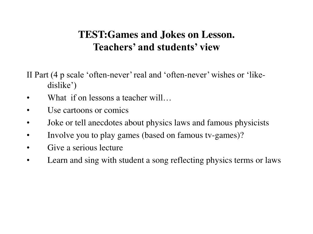 TEST:Games and Jokes on Lesson.