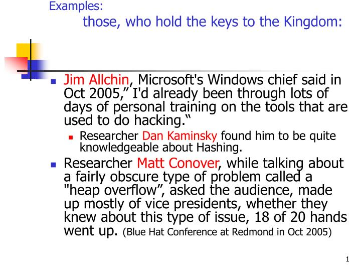 examples those who hold the keys to the kingdom n.