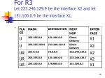 for r3 let 223 240 129 9 be the interface x2 and let 151 100 0 9 be the interface x1