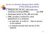 server or sessions message block smb a file sharing protocol