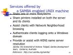 services offered by a samba enabled unix machine