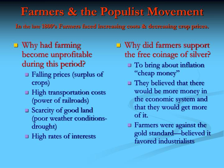 agrarian discontent in the late 1800s What hardships did farmers face in the late 1800s some of the hardships that farmers had to face were railroads charging excessive prices for farmers in the west to ship/store crops than those in the east, the price of cropswas decreasing, and farmers had to mortgage their land to buy more.