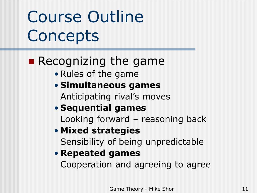 Course Outline       Concepts