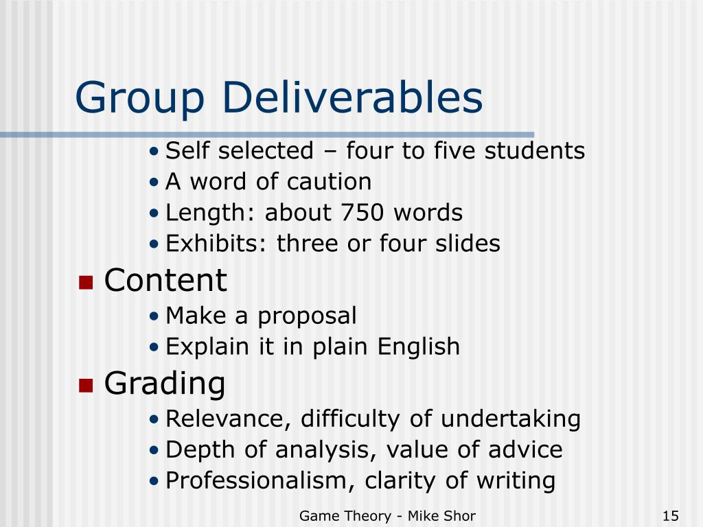 Group Deliverables