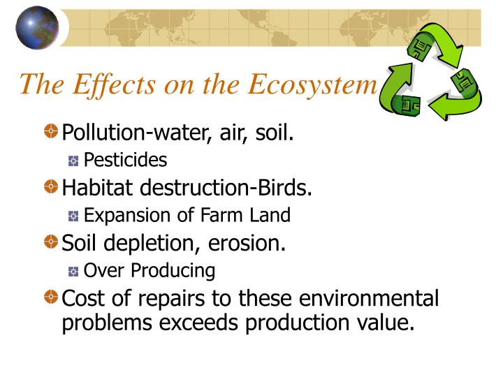 effects of air pollution on ecosystems Effect of industrial expansion on the ecosysytem pollutants given off by various industries and factories are often considered to be one of the prime factors contributing to air, water and soil pollution.